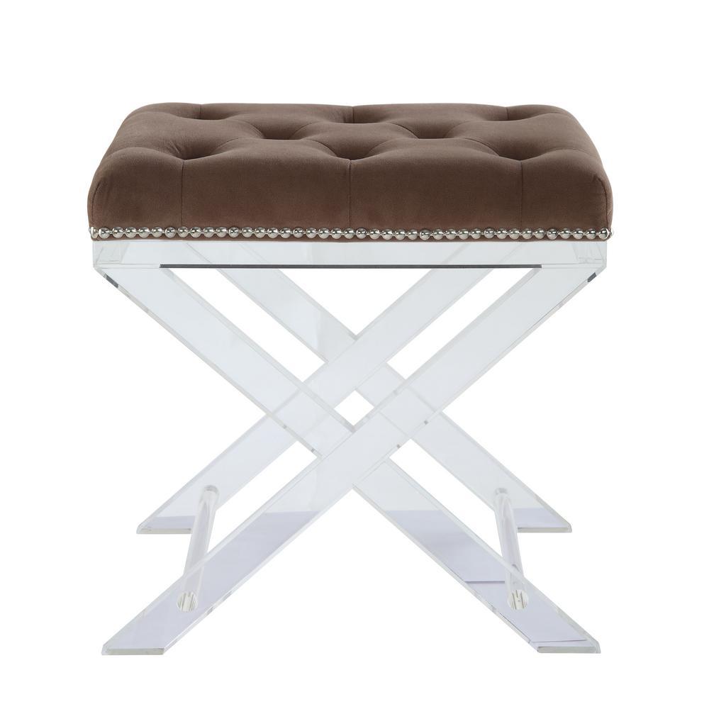 Sedum brown fabric and clear acrylic stool