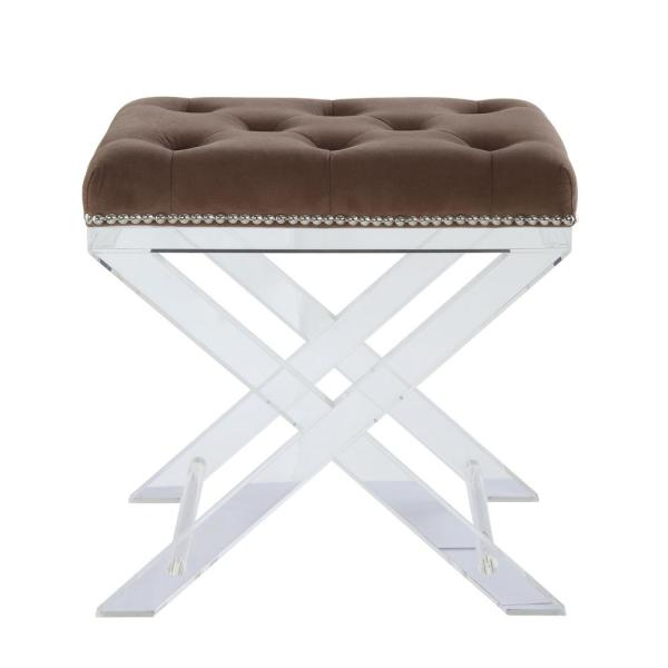 Acme Furniture Sedum Brown Fabric and Clear Acrylic Stool 96126