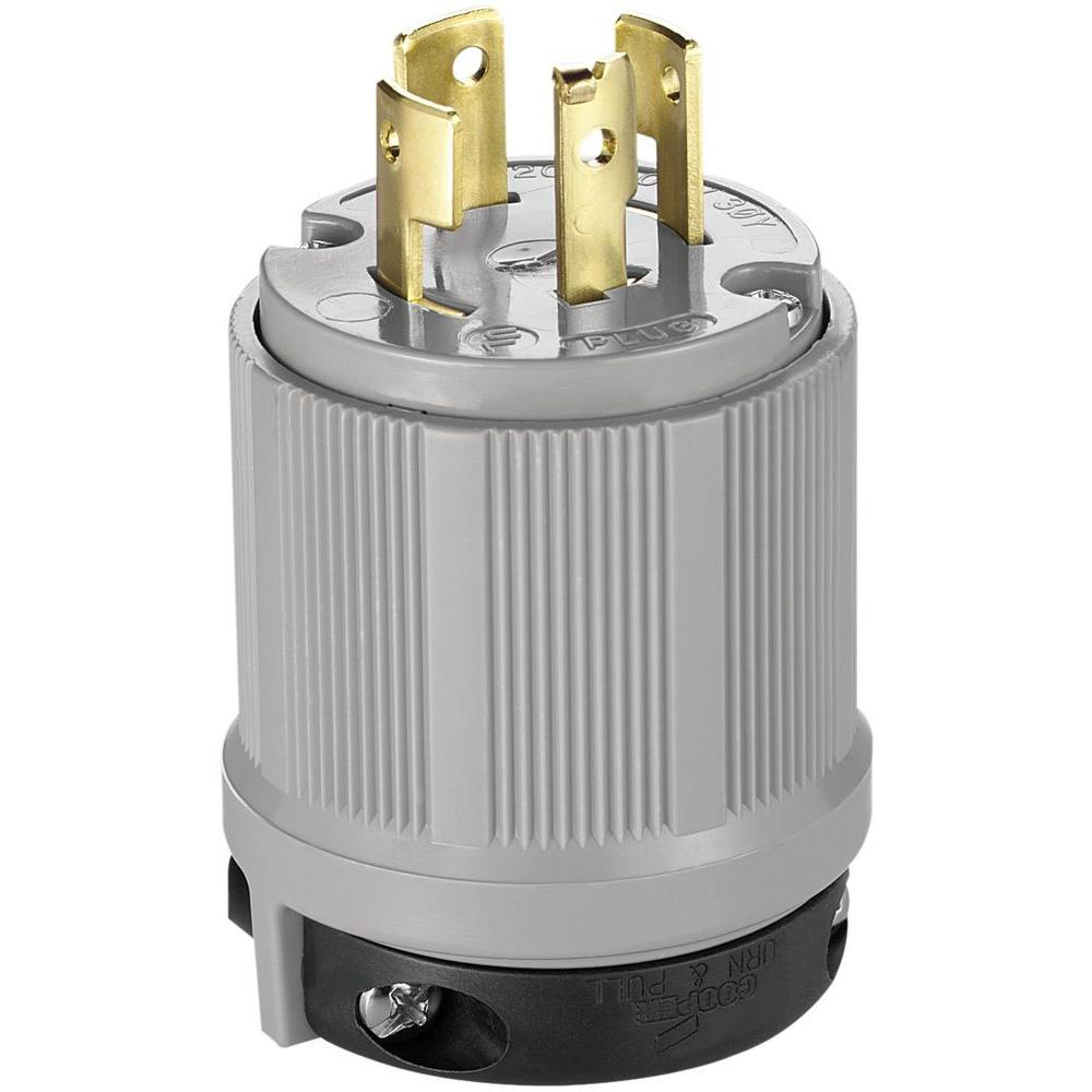 20 Amp 120/208-Volt Safety Grip Plug - Gray