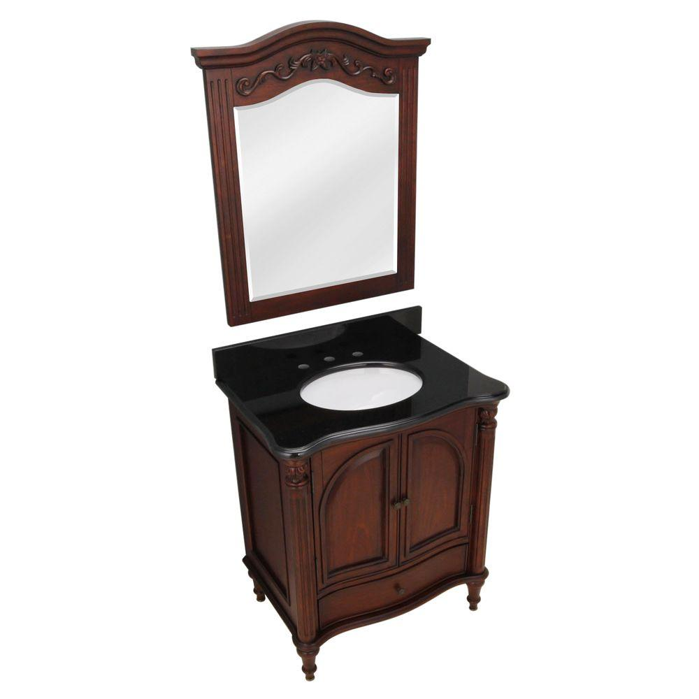 Pegasus Legacy 30 in. Vanity in Rich Mahogany Finish with Granite Vanity Top in Black with Sink and Mirror-DISCONTINUED