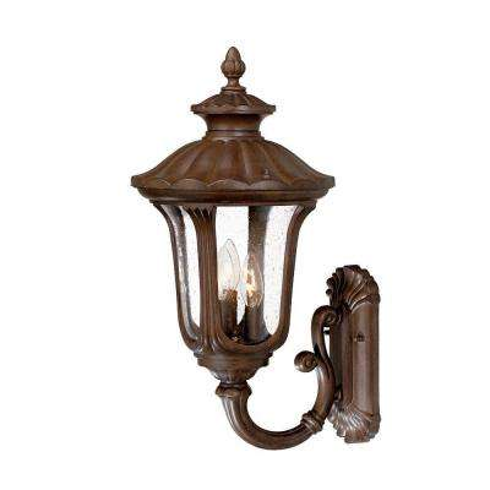 Augusta Collection 3-Light Burled Walnut Outdoor Wall-Mount Light Fixture