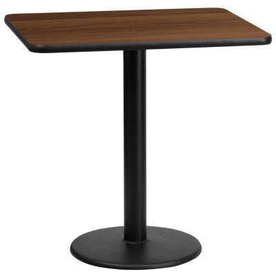 24 in. x 30 in. Rectangular Black and Walnut Laminate Table Top with 18 in. Round Table Height Base