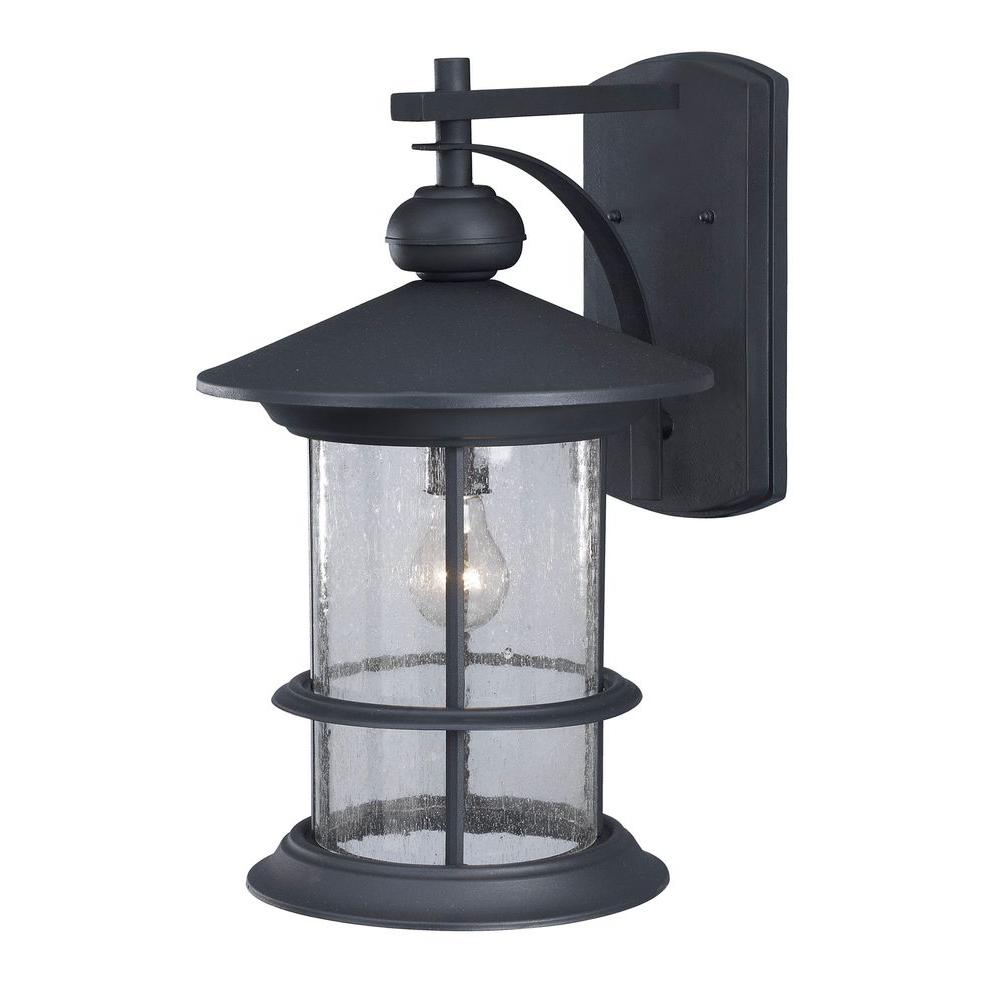 canarm ryder 1light black outdoor wall lantern with seeded glass