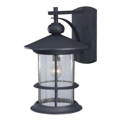 Ryder 1-Light Black Outdoor Wall Lantern with Seeded Glass