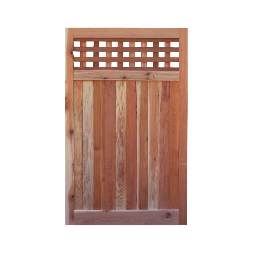 3.5 ft. H W x 6 ft. H H Western Red Cedar Flat Top Checker Lattice Fence Gate