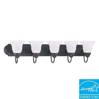 5-Light Mahogany Bronze Fluorescent Wall Vanity Light
