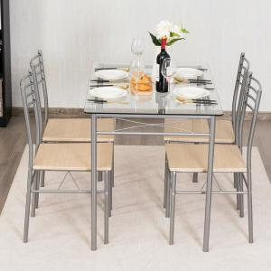 Costway Dining Set 5-Piece Silver Table and 4 -Chairs Glass ...