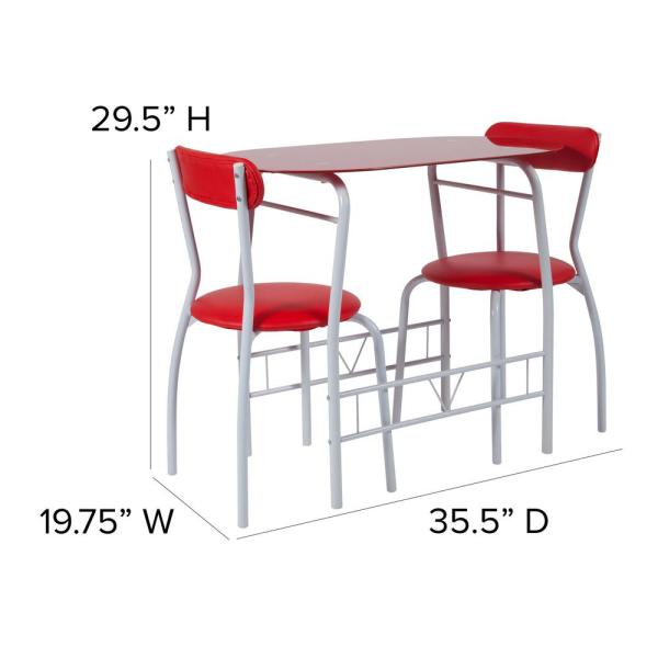 Carnegy Avenue 3 Piece 29 In Red Glass Dining Table And Chair Set Cga Hg 209539 Re Hd The Home Depot