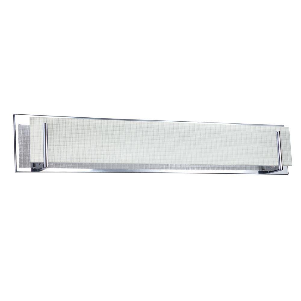 Aurora Series 6-Light Chrome Vanity Light with Linen Glass