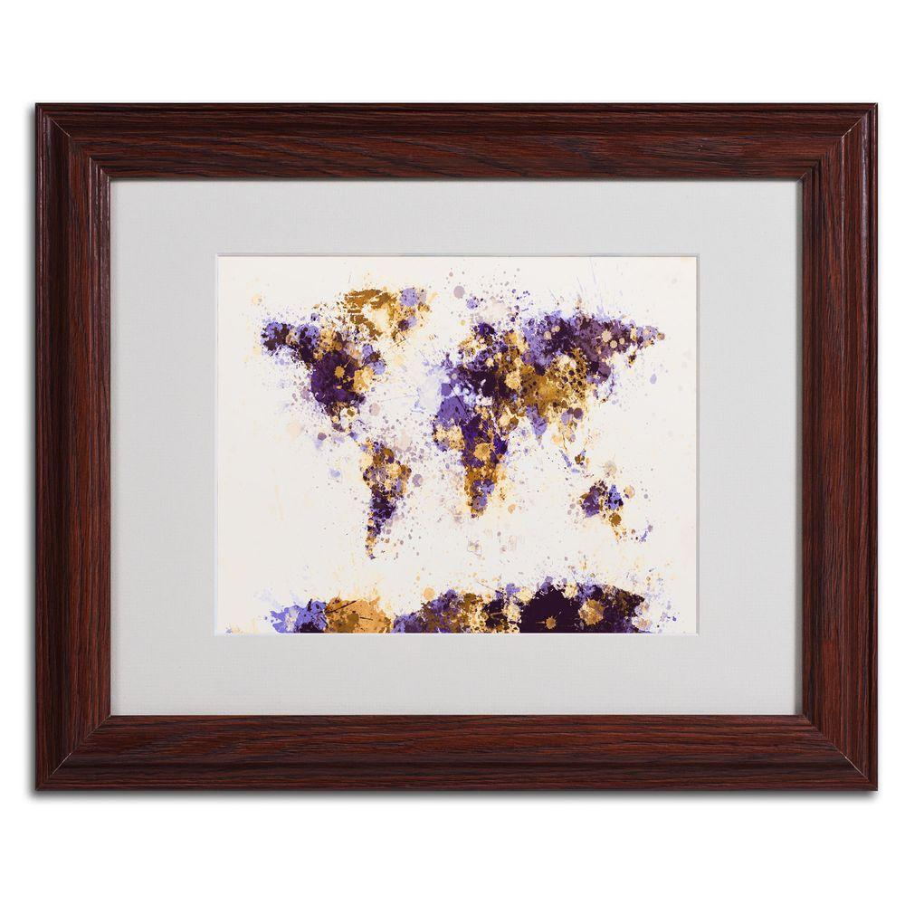 11 in. x 14 in. Paint Splashes World Map 4 Matted