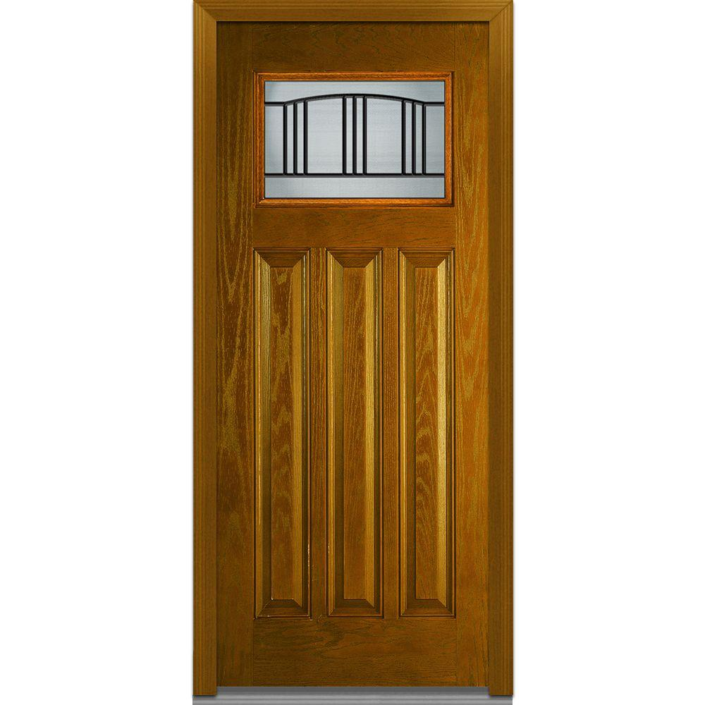 36 in. x 80 in. Madison Left-Hand Craftsman 3-Panel Classic Stained