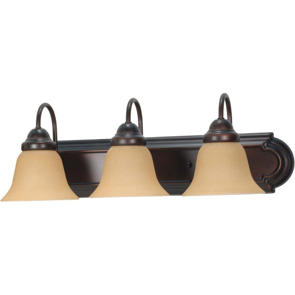 3-Light Mahogany Bronze Vanity Light with Champagne Linen Washed Glass