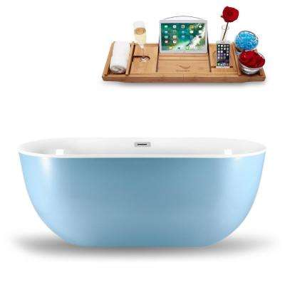 59.1 in. Acrylic, Fiberglass Flatbottom Non-Whirlpool Bathtub in Glossy Blue