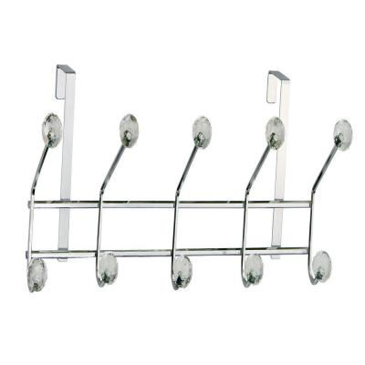 OTD - 5 Over The Door Hooks in Chrome with Clear Jewel Beveled Ball