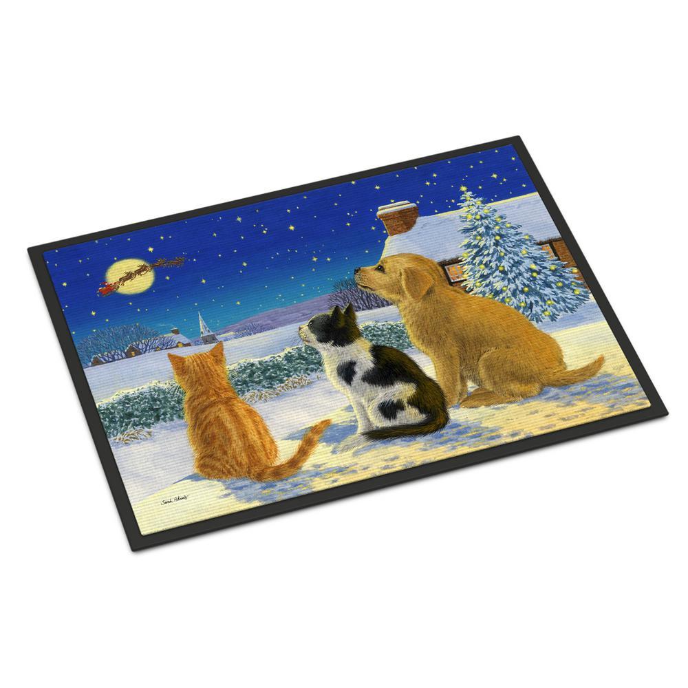 24 in. x 36 in. Indoor/Outdoor Golden Retriever and Kittens Watching Santa Door Mat