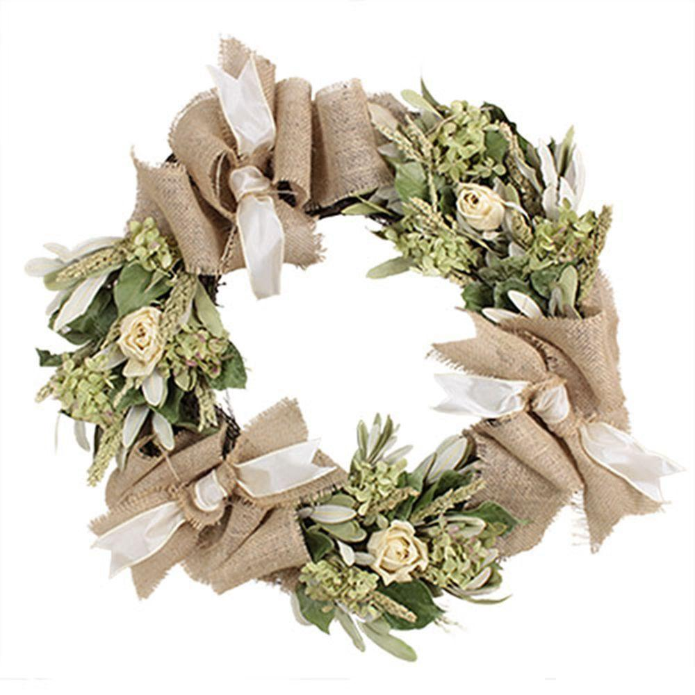 The Christmas Tree Company Roses and Burlap 22 in. Dried Floral Wreath