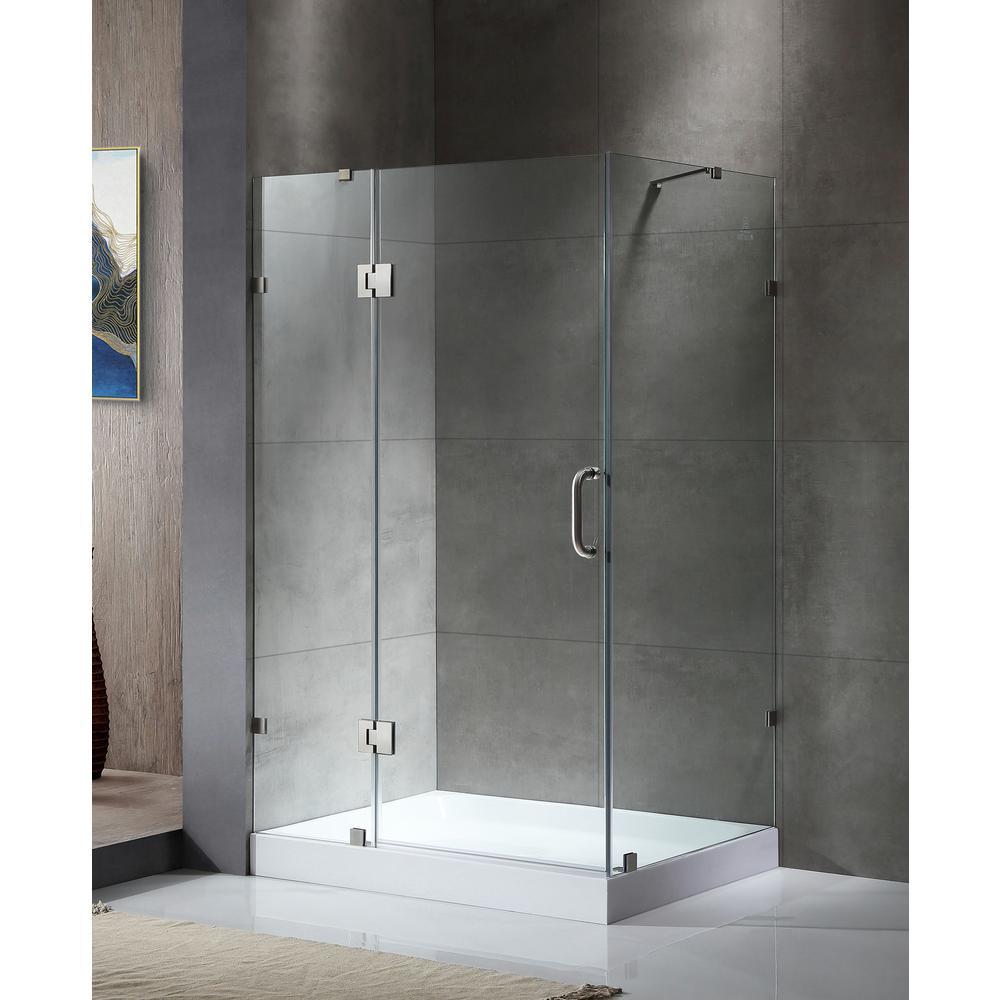 Archon 46 In. X 72 In. Frameless Corner Hinged Shower Door ...