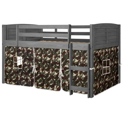Antique Grey Twin Louver Low Loft Bed with Camo Tent Kit