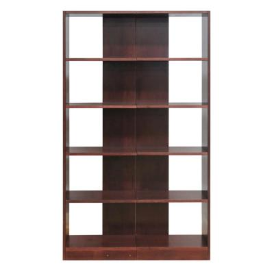 72 in. Cherry Wood 10-shelf Standard Bookcase with Adjustable Shelves