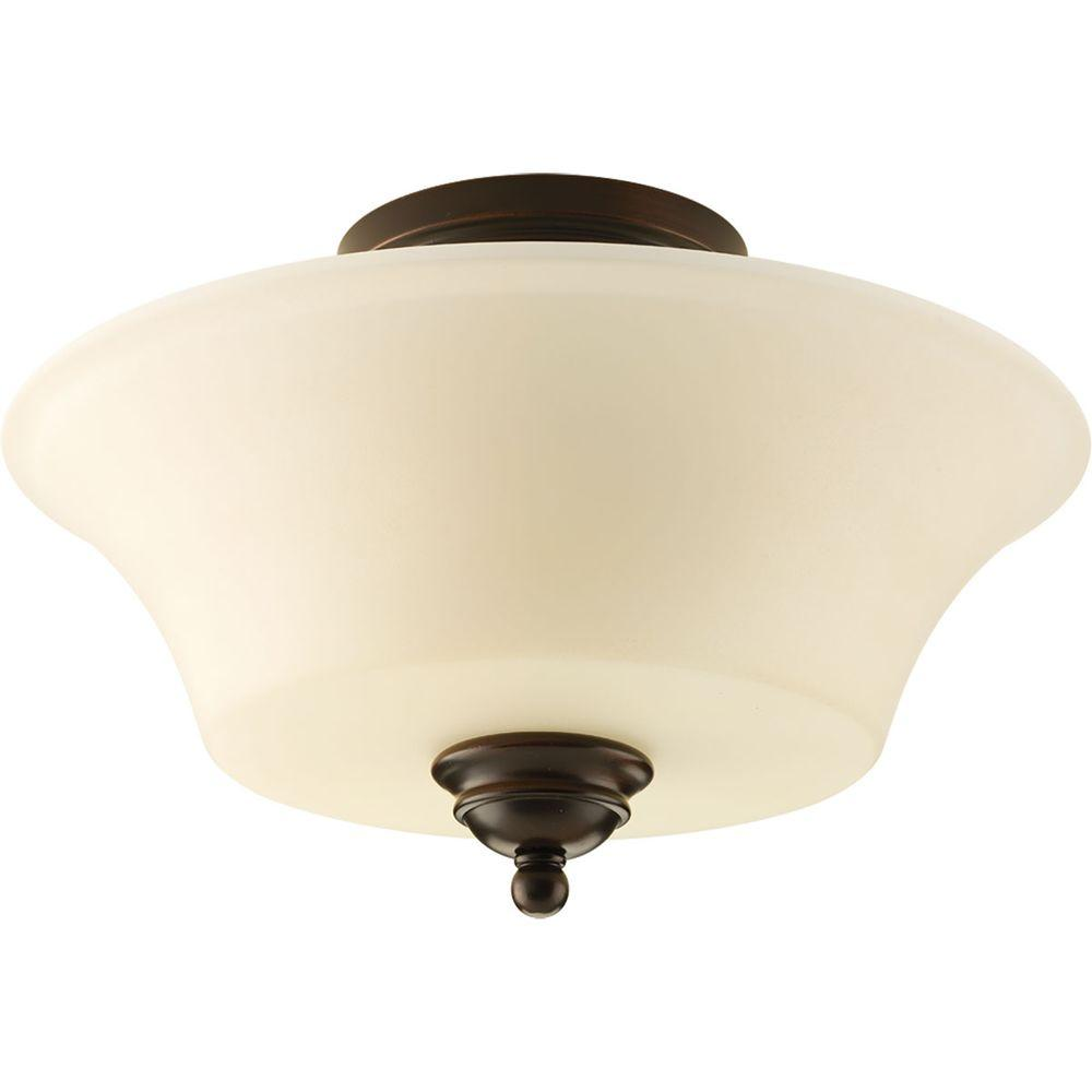 Applause Collection 2-Light Antique Bronze Flushmount with Light Tea Spotted