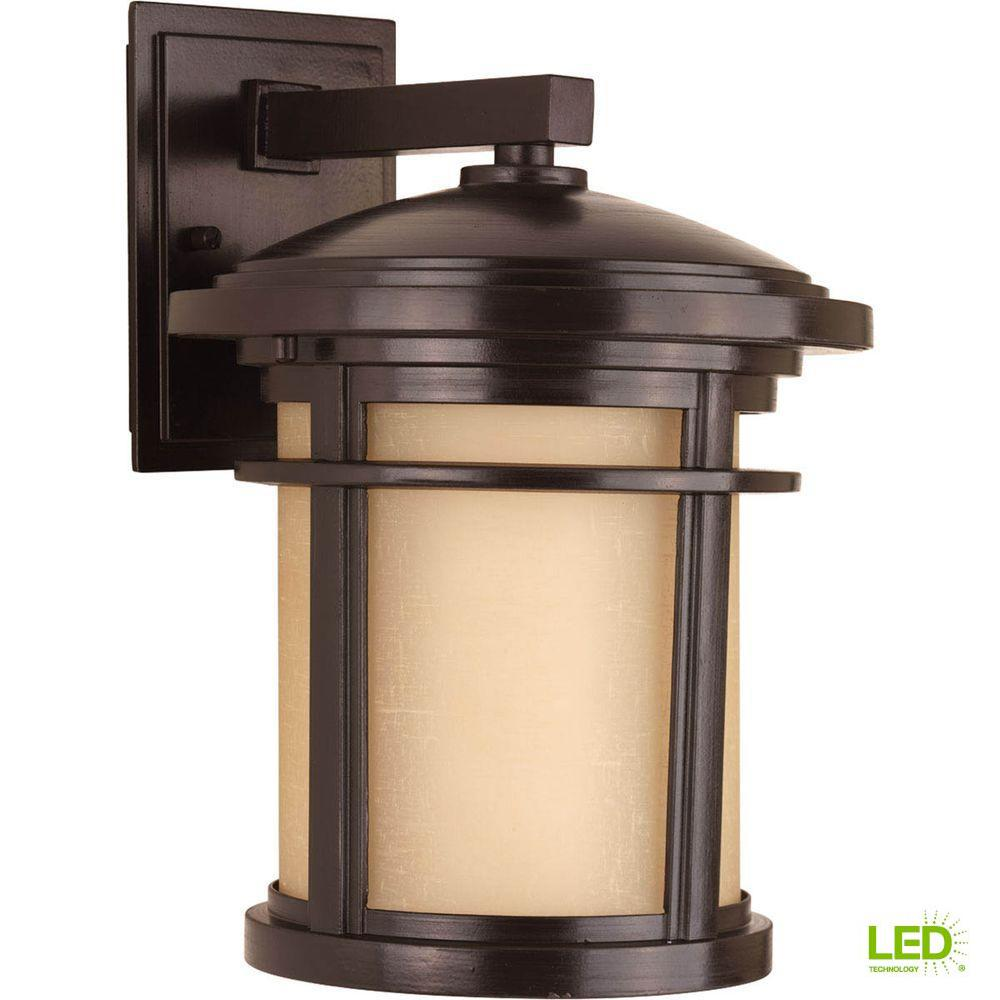 Progress Lighting Wish Collection 1-Light 12.5 in. Outdoor Antique Bronze LED Wall Lantern Sconce