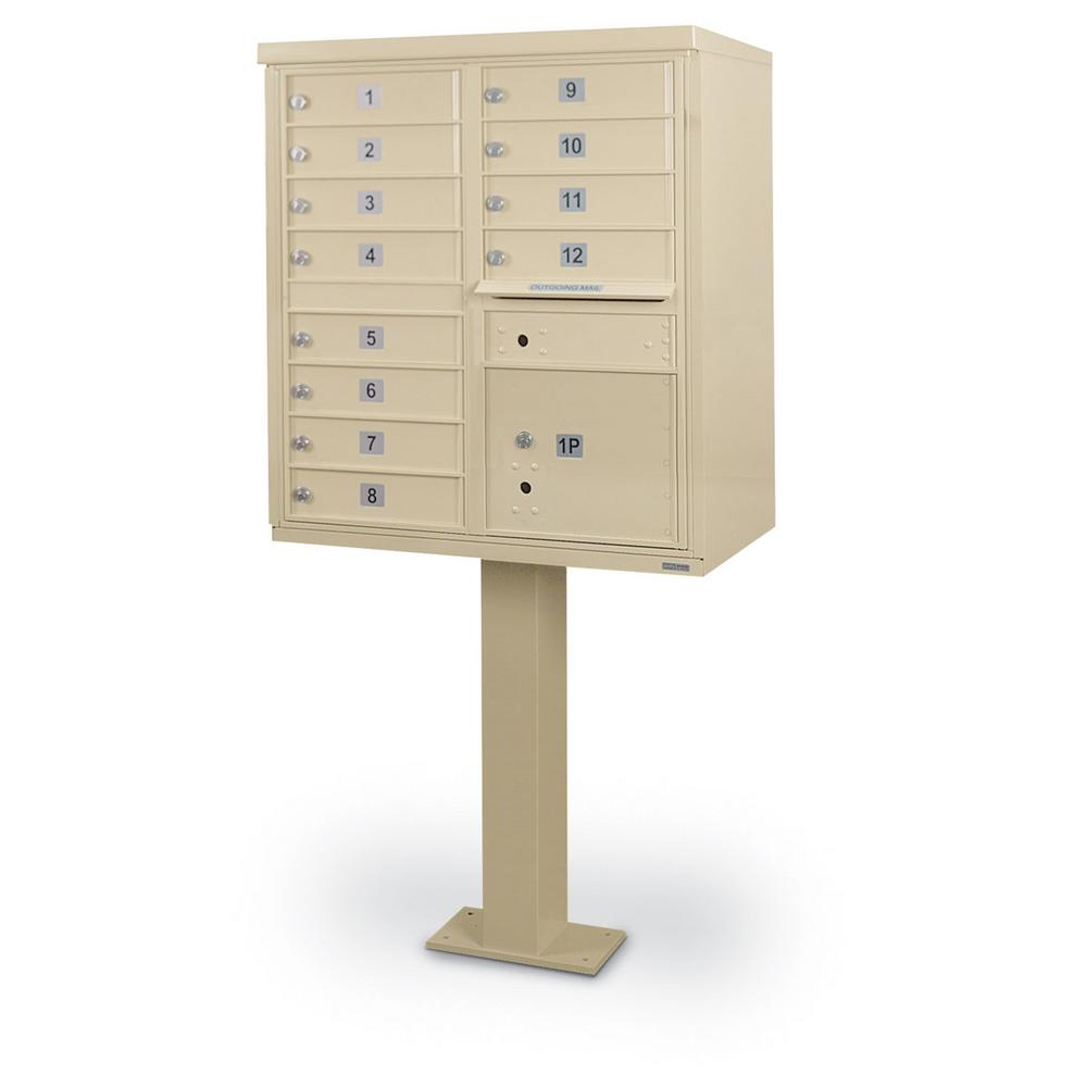 Postal Products Unlimited 12-Compartment F-Spec Mailbox Cluster Box Unit  with Pedestal