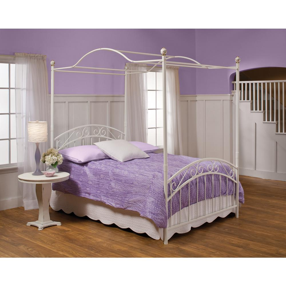 Hilale Furniture Emily White Full Canopy Bed