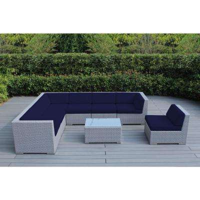 Gray 8-Piece Wicker Patio Seating Set with Sunbrella Navy Cushions