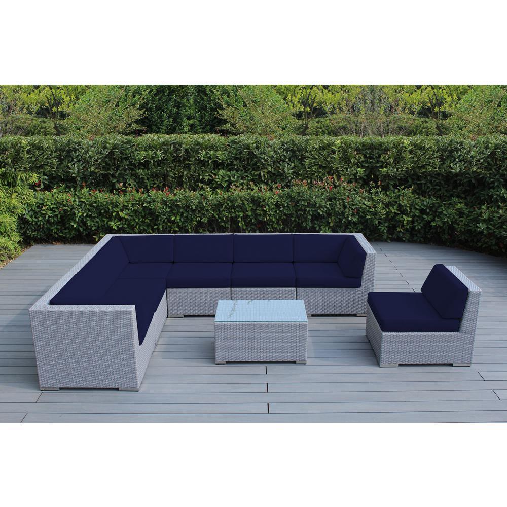 Gray 8-Piece Wicker Patio Seating Set with Sunbrella Navy Cushions