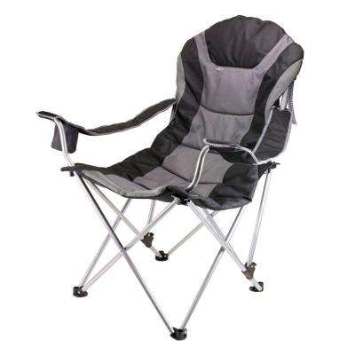 Reclining Camp Black and Grey Patio Chair