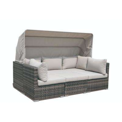 Aurora Wicker Outdoor Sectional with Taupe Cushions