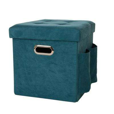 15 in. H Turquoise Cube Faux Suede Foldable Storage Ottoman with Padded Seat