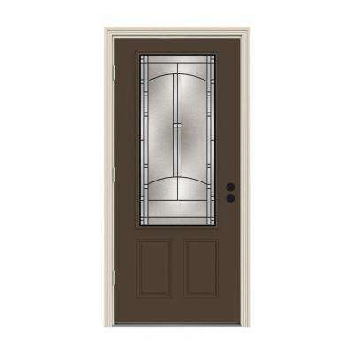 32 in. x 80 in. 3/4 Lite Idlewild Dark Chocolate Painted Steel Prehung Right-Hand Outswing Front Door w/Brickmould