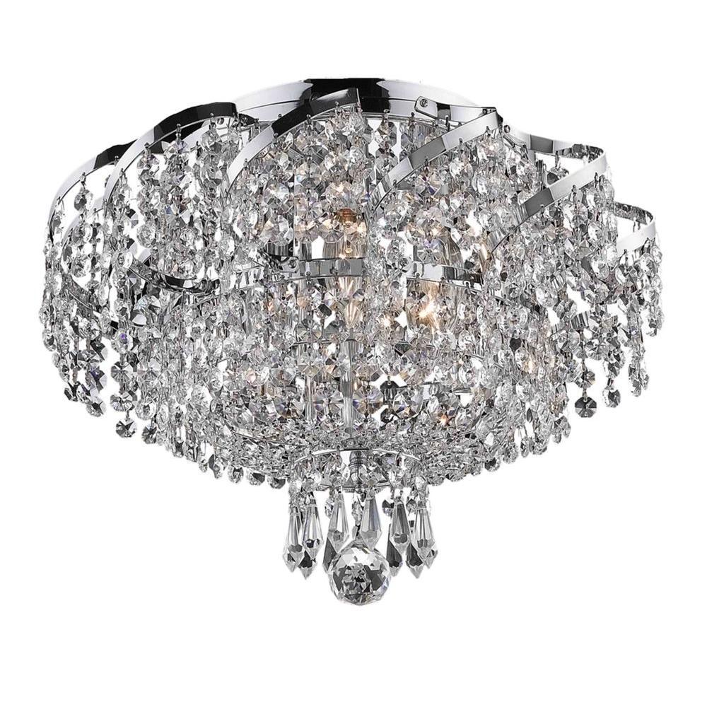 Elegant Lighting 6-Light Chrome Flushmount with Clear Crystal