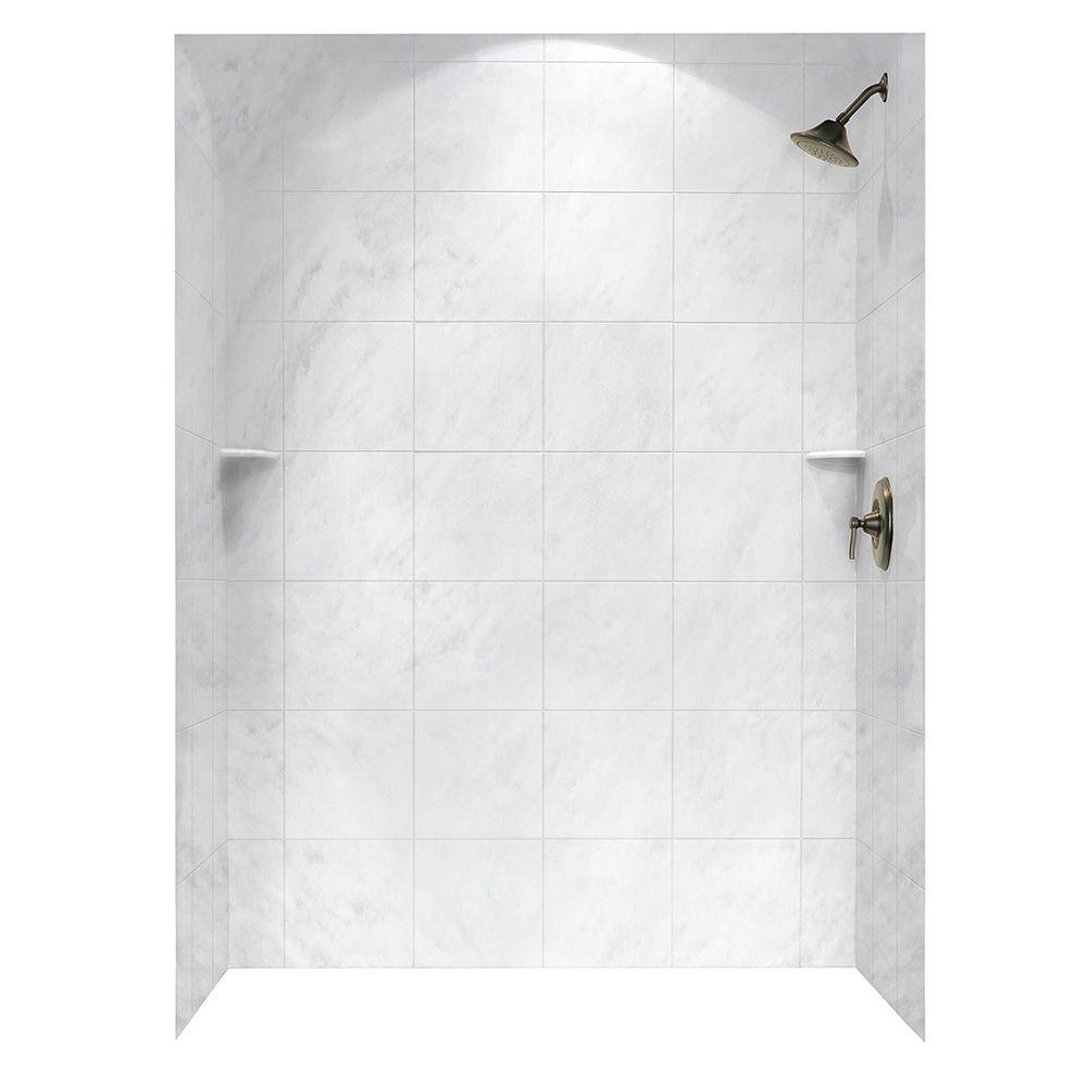 Swan Square Tile 36 in. x 62 in. x 96 in. 3-Piece Easy Up Adhesive ...