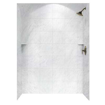 Square Tile 36 in. x 62 in. x 96 in. 3-Piece Easy Up Adhesive Alcove Shower Surround in Tundra