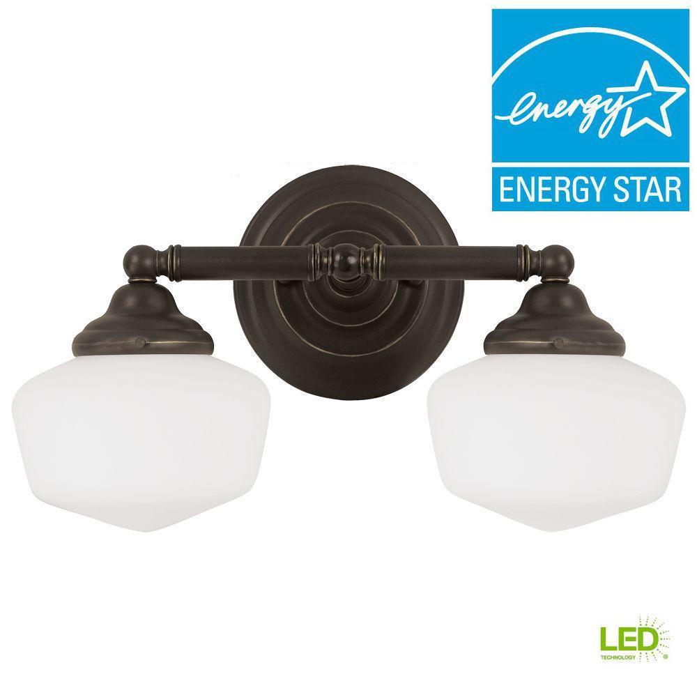 Academy 2-Light Heirloom Bronze Wall/Bath Light with LED Bulbs