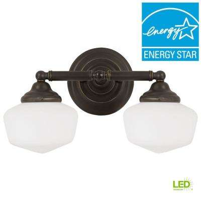 Academy 2-Light Heirloom Bronze Wall/Bath Light with LED Bulbs