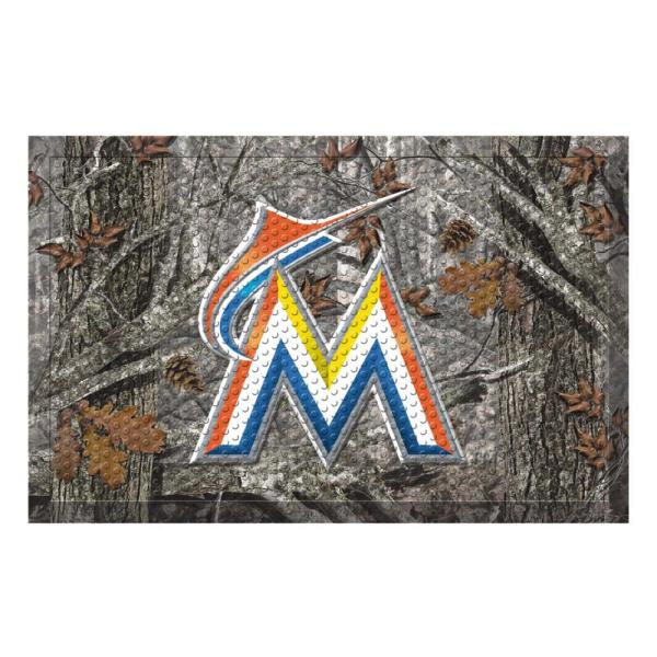 MLB - Miami Marlins 19 in. x 30 in. Outdoor Camo Scraper Mat Door Mat