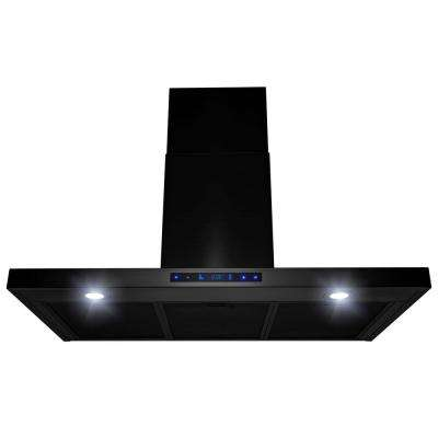 36 in. 450 CFM Wall Mount Range Hood with LED Lights in Brushed Black Stainless Steel