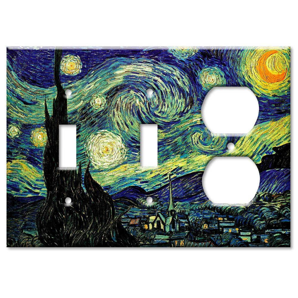 Art Plates Van Gogh Starry Night 3 Gang 2 Switch/Outlet Combo Wall Plate