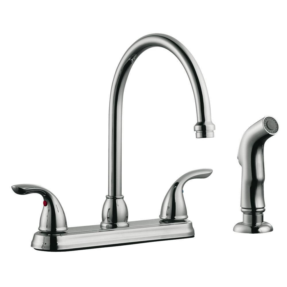 Design House Ashland 2-Handle Standard Kitchen Faucet with Side Sprayer in Polished Chrome