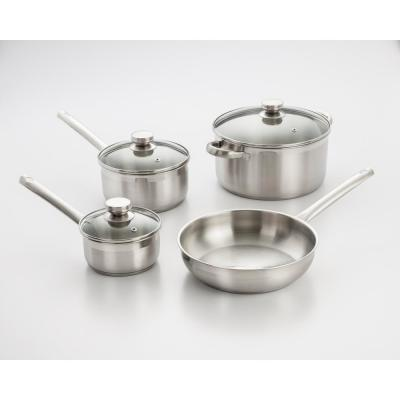 7-Piece Stainless Steel Cookware Set in Brushed Stainless Steel