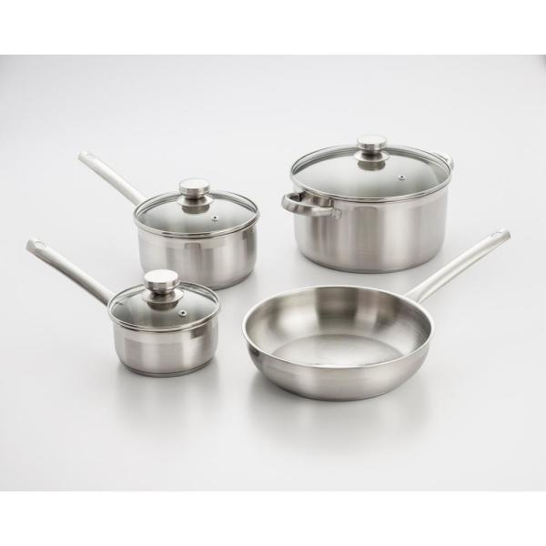 ExcelSteel 7-Piece Stainless Steel Cookware Set with Lids and Encapsulated Base