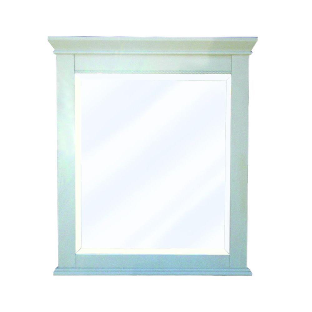 Vineta 32 in. x 28 in. Framed Mirror in Antique White