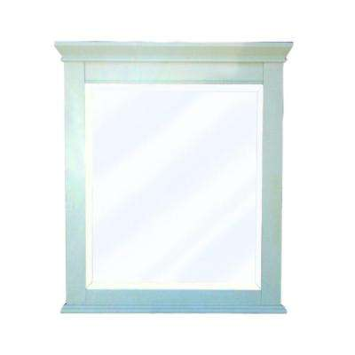 Vineta 32 in. x 28 in. Framed Mirror in Antique White