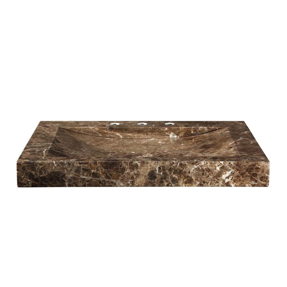 RYVYR 48-1/8 in. Marble Vanity Top in Dark Emperador with Brown Integral Stone Sink Basin