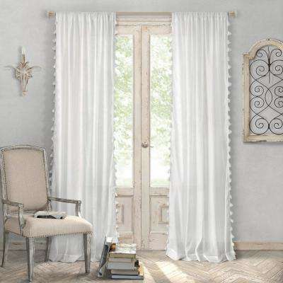 Bianca 52 in. W x 84 in. L Polyester Single Rod Pocket Window Curtain Panel in White