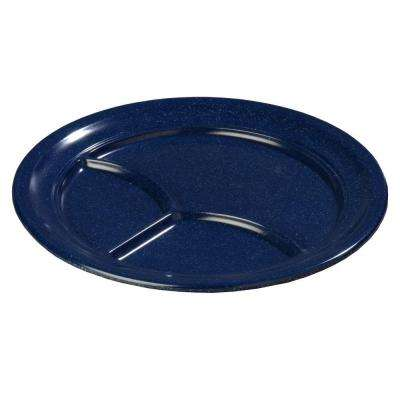 9.67 in. Diameter Melamine 3-Compartment Plate in Cafe Blue (Case of 36)