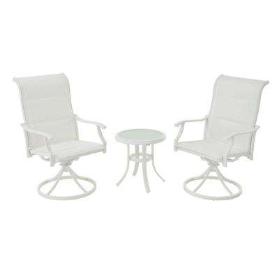 Riverbrook Shell White 3-Piece Outdoor Patio Aluminum Round Padded Sling Swivel Seating Set